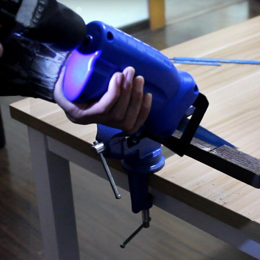 Reciprocating Saw Convert Adapter Metal Cutting Wood Tool Electric Drill Attachment with 3 Blades for Cordless Power Drill