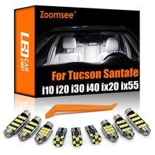 Zoomsee внутренсветодиодный ОД для Hyundai i10 i20 i30 i40 ix20 ix35 ix55 Tucson Santa Fe Santafe Canbus автомобиль внутренний купол светильник комплект