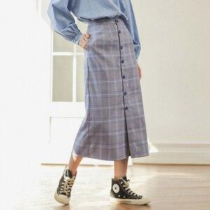 Image 3 - INMAN зимняя однотонная однобортная трапециевидная юбка в стиле ретро
