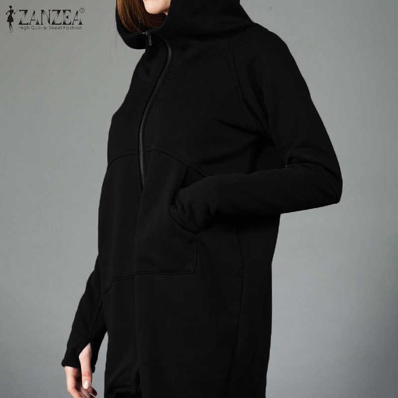 Womens sweatshirt hoodies zanzea 2020 봄 가을 따뜻한 아웃웨어 지퍼 업 패치 워크 후드 긴 소매 코트 chaqueta mujer 5xl