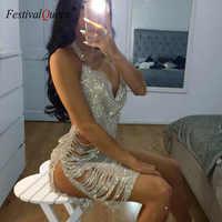 FestivalQueen-Vestido corto femenino brillante con Espalda descubierta, minivestido sexy con escote triangular para mujer, para club nocturno y fiesta, 2018