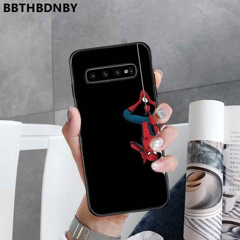 Capa de telefone homem-aranha preto escudo macio capa de telefone para samsung s9 plus s6 borda mais s7 borda s8 mais s10 plus