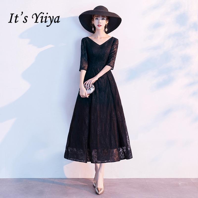 It's Yiiya Evening Dress V-neck Half Sleeve Evening Dresses Elegant Black Plus Size Formal Gowns Lace Robe De Soiree LF142