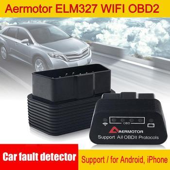 Venta Aermotor ELM327 WIFI OBD2 compatible con Android Detector de fallas de coche adecuado para Android y Apple al por mayor entrega rápida CSV