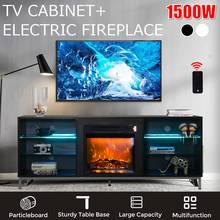 Console Cabinet-Unit Tv-Stand Electric-Fireplace Home-Furniture Storage Modern with Blue