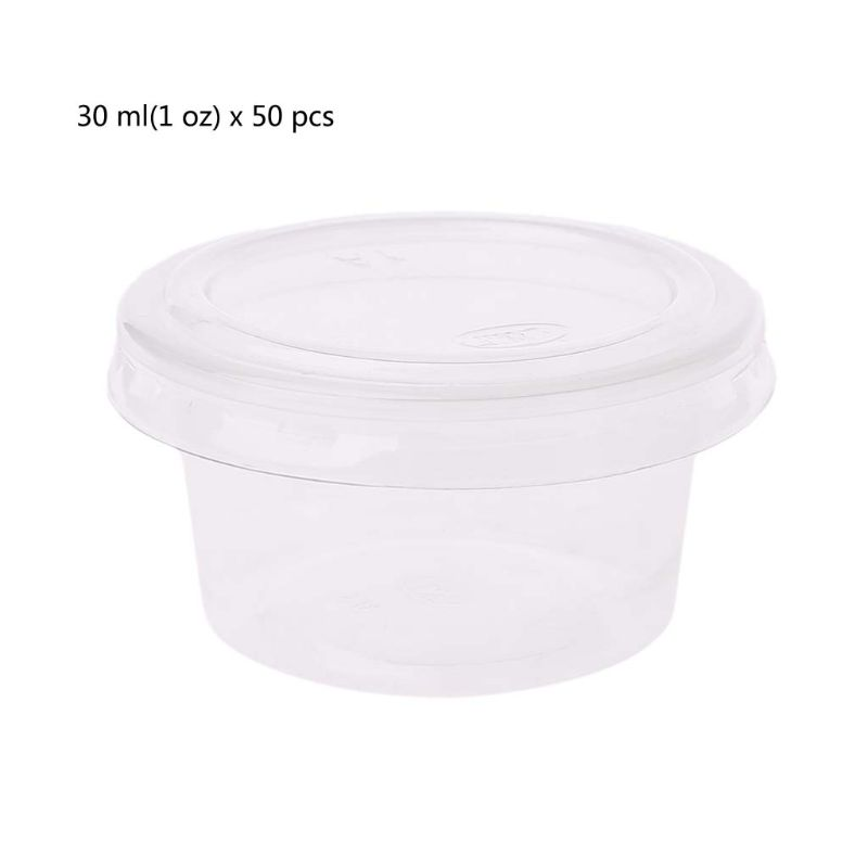 50Pcs Disposable Cups Set Of 30ml/1 Oz Sauce Pot Container Jello Shot Cup Slime Storage With Lid For Ketchup
