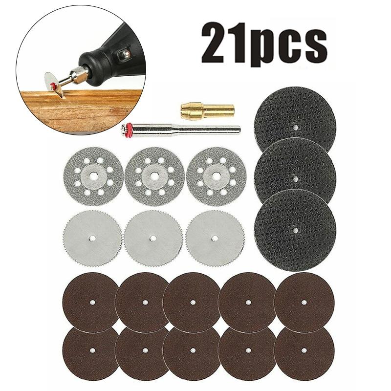 21 шт. Мини сверло роторный инструмент деревообрабатывающие аксессуары набор пилы режущие диски для дома и промышленности