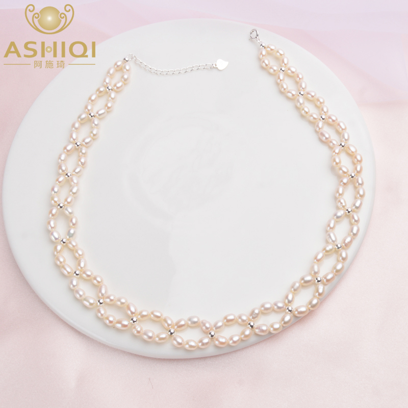 ASHIQI Natural Pearl Choker Necklace 925 Sterling Silver Beads For Women 3-4mm Freshwater Pearl Collares Jewelry
