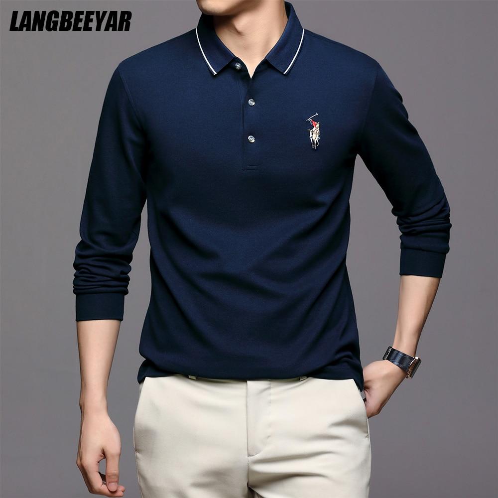 Первоклассные новые модные брендовые Мужские Простые рубашки поло для мужчин с отложным воротником, повседневные дизайнерские топы с длин...