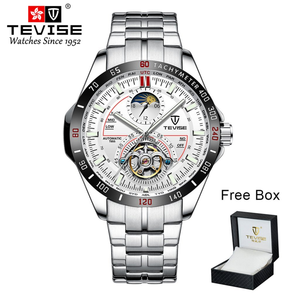 Tevise Automatic Men's Six-needle Mechanical Watch Fashion Large Dial Men's Watch Multi-function Waterproof Watch