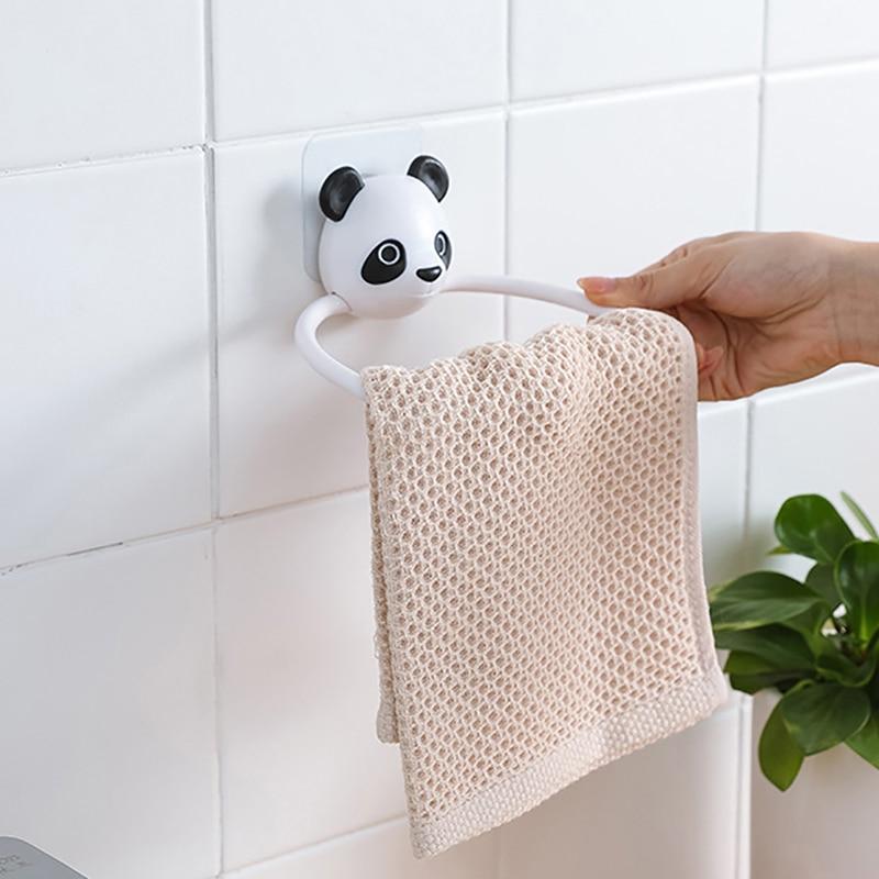 Клейкое полотенце, подвесное кольцо, полотенце для кухни, ванной комнаты, милое мультяшное животное, настенная вешалка-наклейка, Настенная