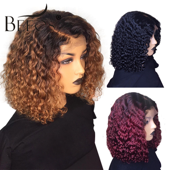"""Beeos Colored Short Curly 13x6 Lace Front Human Hair Wigs Pre Plucked With Baby Hair Deep Part Brazilian Remy Glueless 8-16"""""""