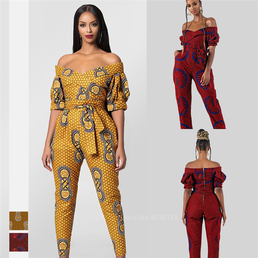 African Dresses For Women 2020 New Ladies Dashiki Print Shoulder Off Ankara Style Trousers Fashion Robe Africaine Jumpsuit Party