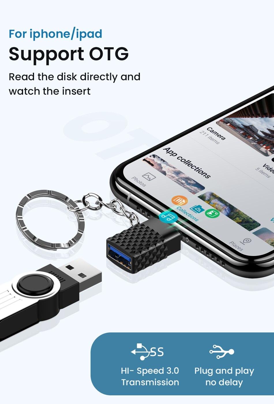 para iphone otg adaptador com corrente chave