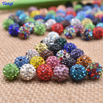 Yanqi 20pcs 10mm Mixed Colors Rhinestone Crystal Beads Fit European Disco Shamballa Beads Necklace Diy Spacer Beads Bracelet