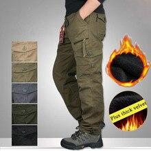 Inverno quente calças masculinas grossas calças de algodão tático militar para homens além de veludo casual exército camo pantalon carga