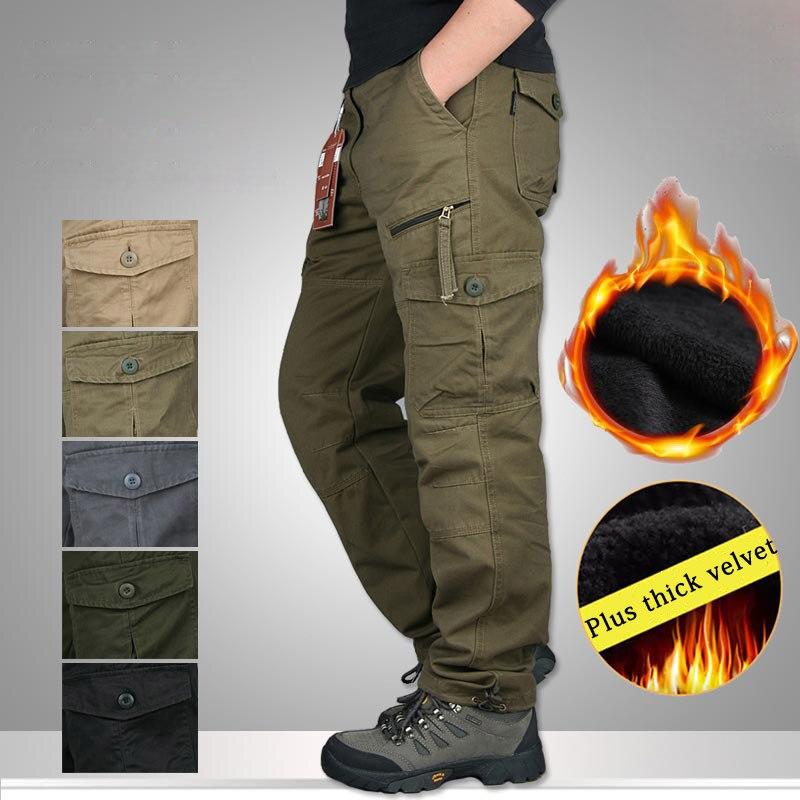 Winter Warm Pants Men Thick Military Tactical Cotton Trousers For Men Plus Velvet Casual Army Camo Pants Men Pantalon Cargo