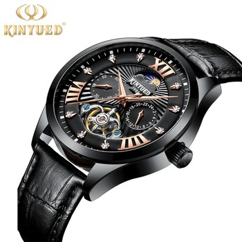 KINYUED Men Watches Automatic Mechanical Watch Tourbillon Sport Clock Leather Casual Business Wrist Watch Gold Relojes Hombre