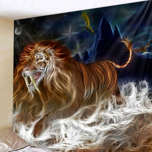 Image 4 - Zebra Lion Tapestry Wall Hanging Tribal Animal Sheets Wolf Tiger Horse Tapestry Home Decor Beach Mat