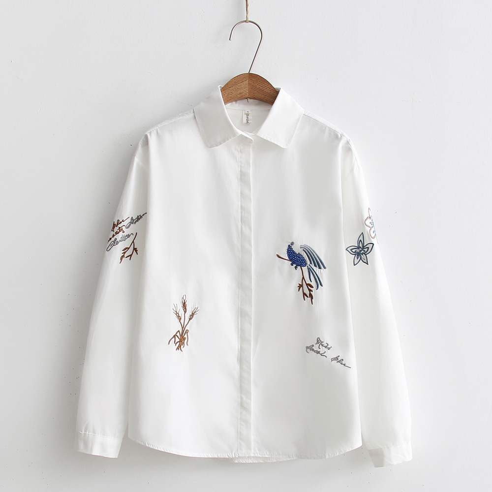 2020 Fashion Spring White Shirt Turn-down Collar Women Loose Blouses Long Sleeve Blouse Embroidery Female Button Down Shirts