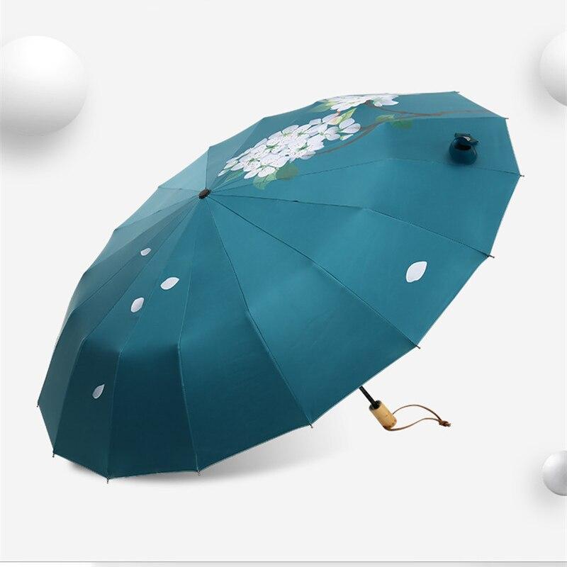 16 osso forte guarda chuva pêra flor queda feminino chuva engrenagem proteção parapluie guarda chuva parasol paraguas presente de natal - 3