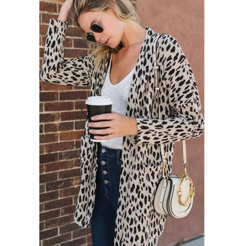 2020 Women's Leopard Print Long Sleeve Cardigan Coats Poncho Casual Long Sleeve Jumper Tops Open Stitch Clothes