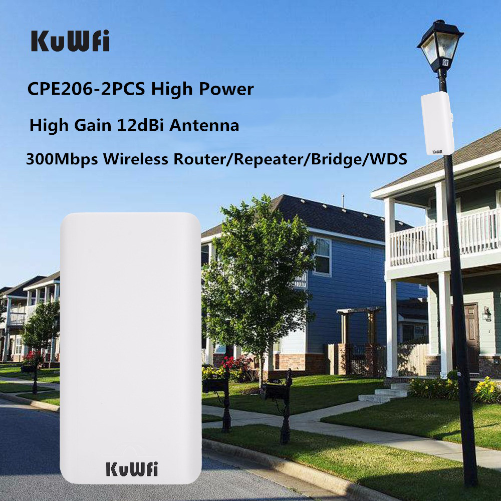 KuWFi CPE206 300Mbps Wireless CPE Router 2.4G Wireless Bridge/ Repeater Outdoor&Indoor Point To Point 2KM CPE Pre-program WDS