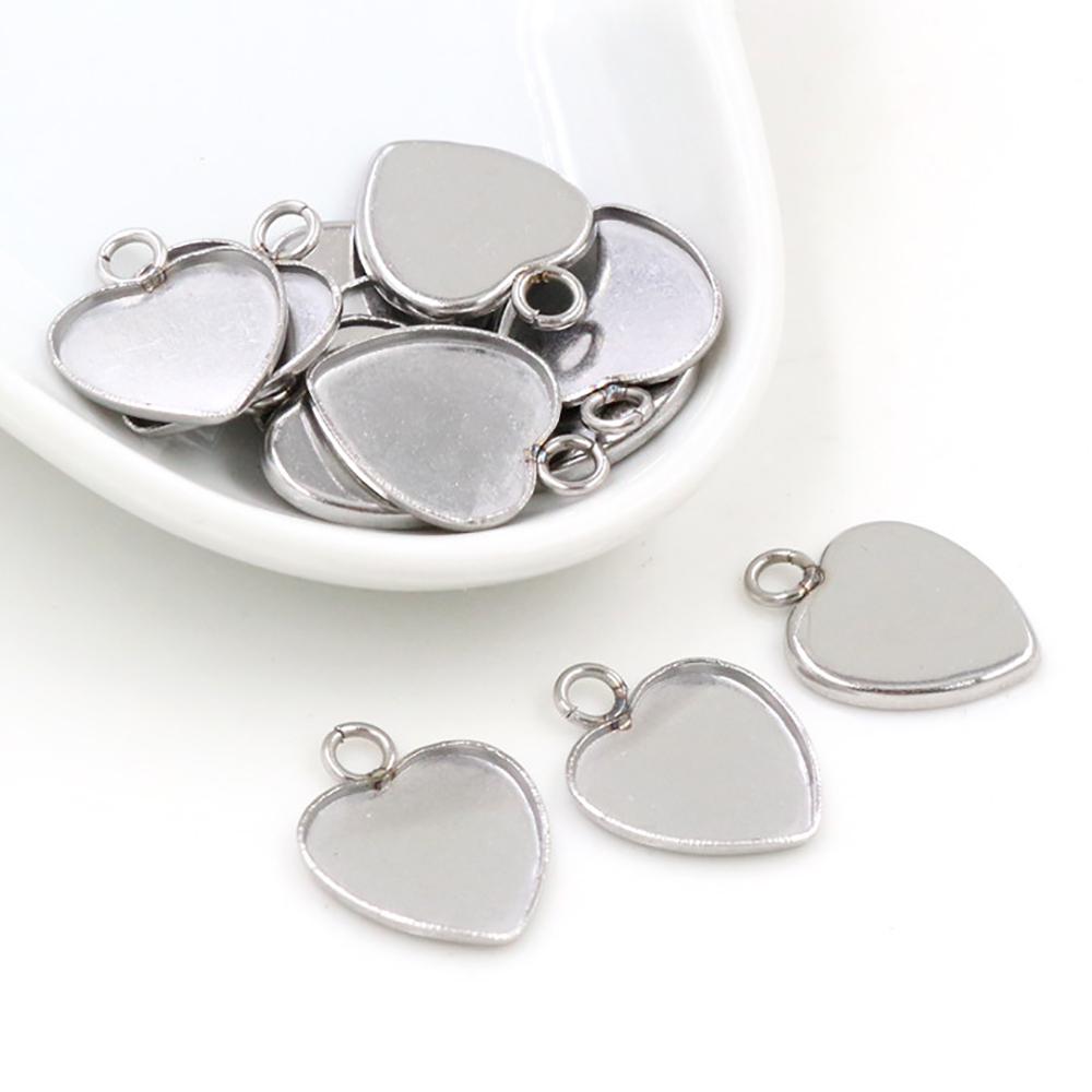 20pcs 12mm Heart Inner Size Stainless Steel Material Simple Style Cabochon Base Cameo Setting Charms Pendant Tray-T7-41