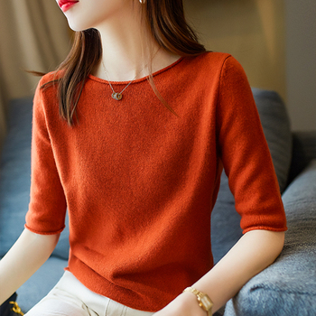 BELIARST Spring and Summer New Pure Wool Sweater Woman Collar Short-sleeved Pullover Fashion Slim Knitted Base Short-Sleeved