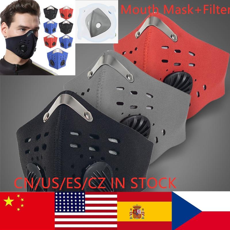 Unsex Diaktifkan Bernapas Sepeda Masker PM2.5 Windproof Pelindung Sepeda MTB Bersepeda Wajah Masker Mulut Masker