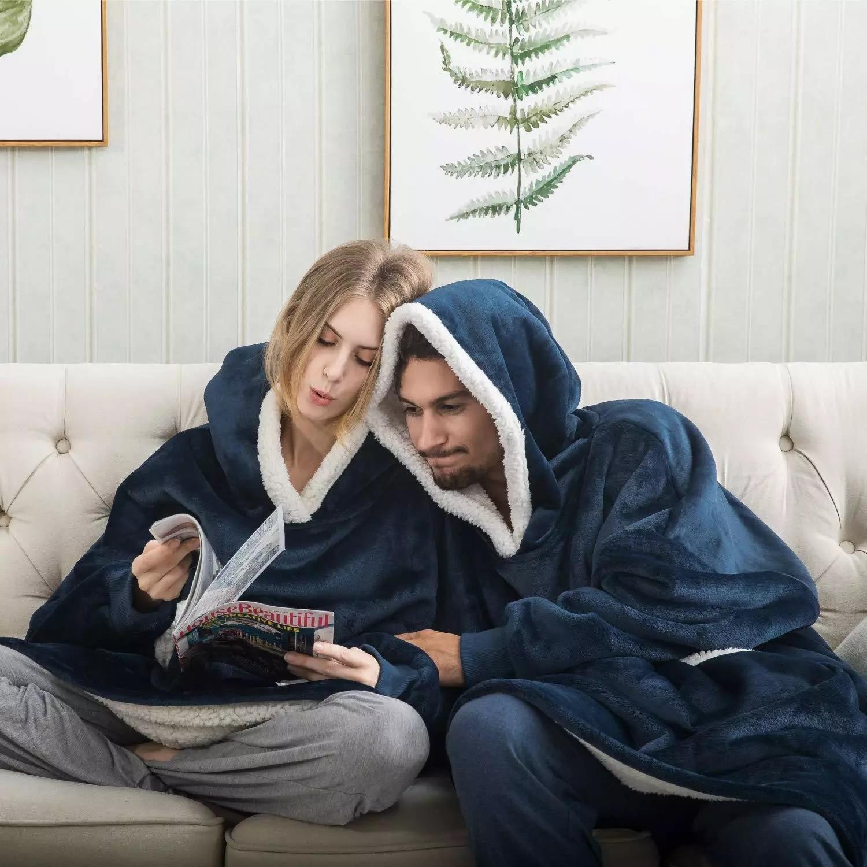 Oversize Hoodie Sofa Warm TV Blankets with Pocket Outdoor Hiking Hooded Sweatshirt Blanket-5