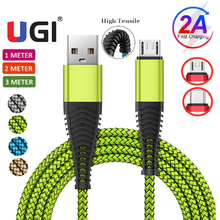 UGI 2A Fast Charging Cable Charge Type C USB C Micro USB For Tablet Nylon Braided Charger Transfer Phone 1m 2m 3m Green christmas reindeer doll xmas shop window home party decor ornament gift