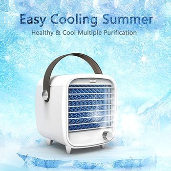 Drop Shipping Mini Cooler Usb Rechargeable Portable Small Refrigeration Air Conditioning Fan Mini Night Light Ice Cooling Fan