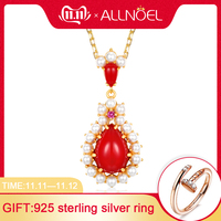 ALLNOEL Silver 925 Jewelry Red Coral Pendant Necklace For Women Lovely Pearls Gold Plated Luxury Fine Jewelry Winter Ornament