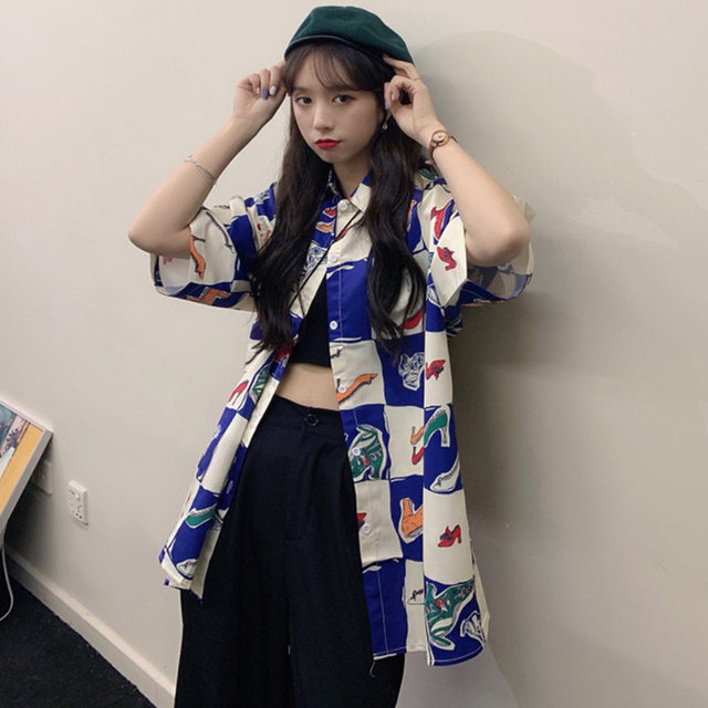 Korean Style Summer Women Blouse Cardigan Button Up Shirt for Ladies Short Sleeve  Ulzzang Harajuku Streetwear Clothes 3