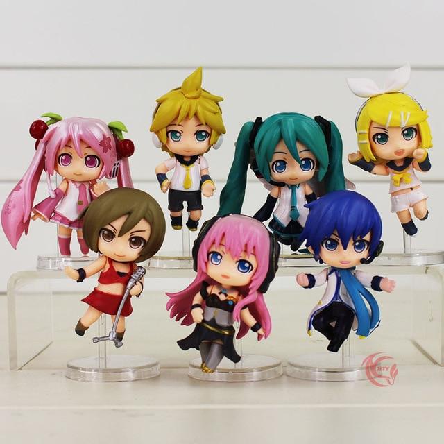 8CM Q Version 7Pcs/Lot Hatsune Kagamine Megurine Miku Luka Action Figure Virtual Singer Rin Len Hobbies Cute PVC Model Kids Toys