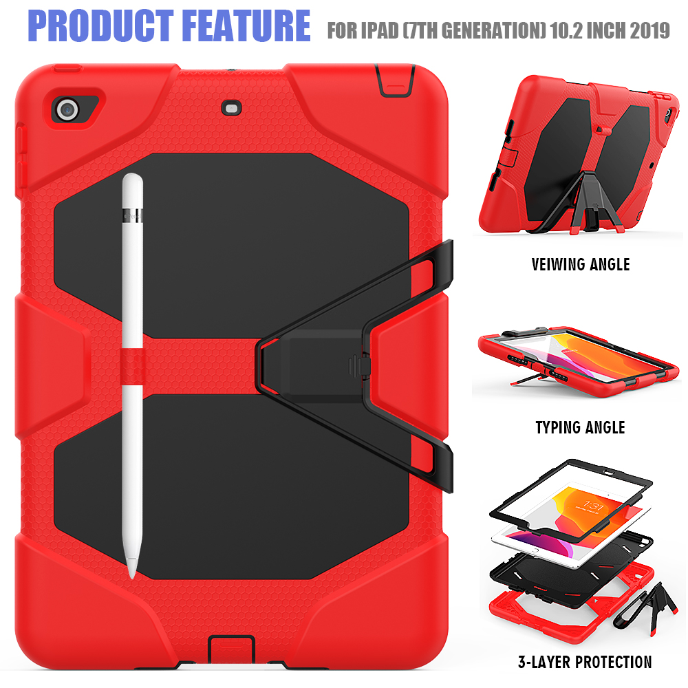Heavy PC For Silicone 10.2 Kids Rugged Case Armor Case Duty Shockproof iPad Kickstand