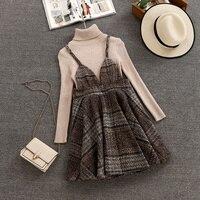 Women 2019 Autumn Winter Long Sleeves Knitted Tops + Sleeveless Woolen Dress 2pcs sets fashion Suits