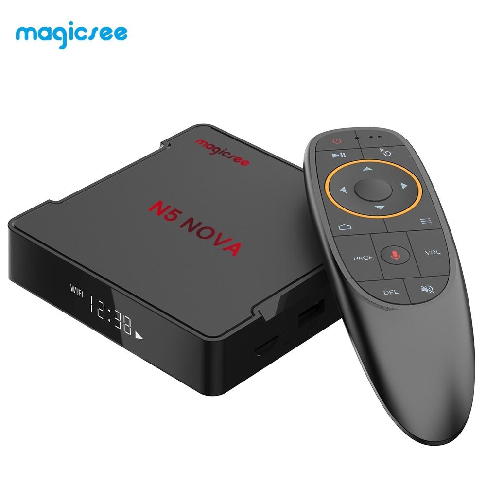 MAGICSEE N5 NOVA TV Box 2.4G télécommande vocale avec souris aérienne Android 9.0 4GB RAM 32 GB/64 GB ROM double bande WiFi BT4.0 4K décodeur