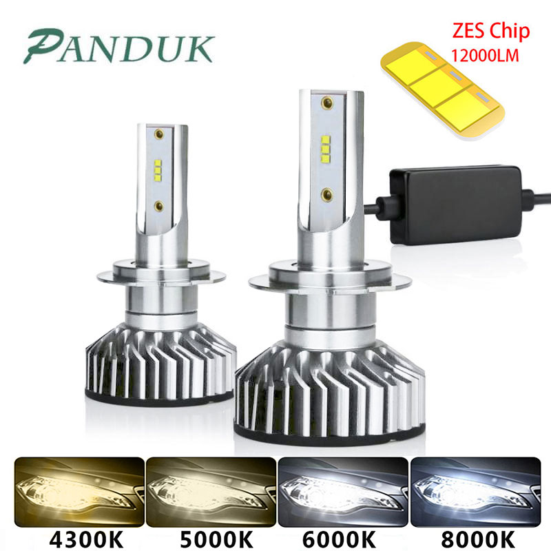 PAUNDUK Mini Canbus H4 H7 LED Car Headlight ZES 4300K 6000K 8000K 12000LM 12V 24V H3 H1 9005 9006 HB4 H11 Auto Fog Light Bulb