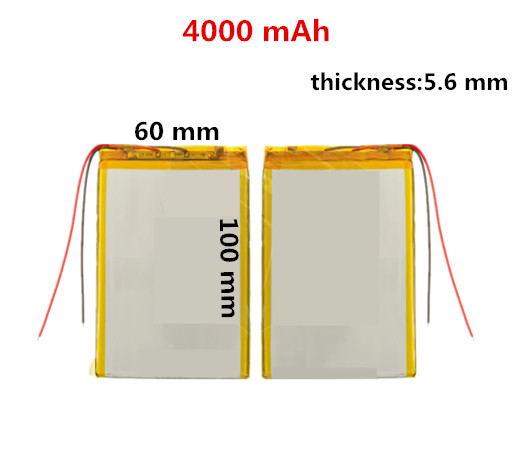 Battery 4000 mAh 3.7 V Rechargeable lithium size:<font><b>100</b></font> mm*<font><b>60</b></font> mm thickness:5.6 mm,Li-ion, 3.7 V,4000 mAh image
