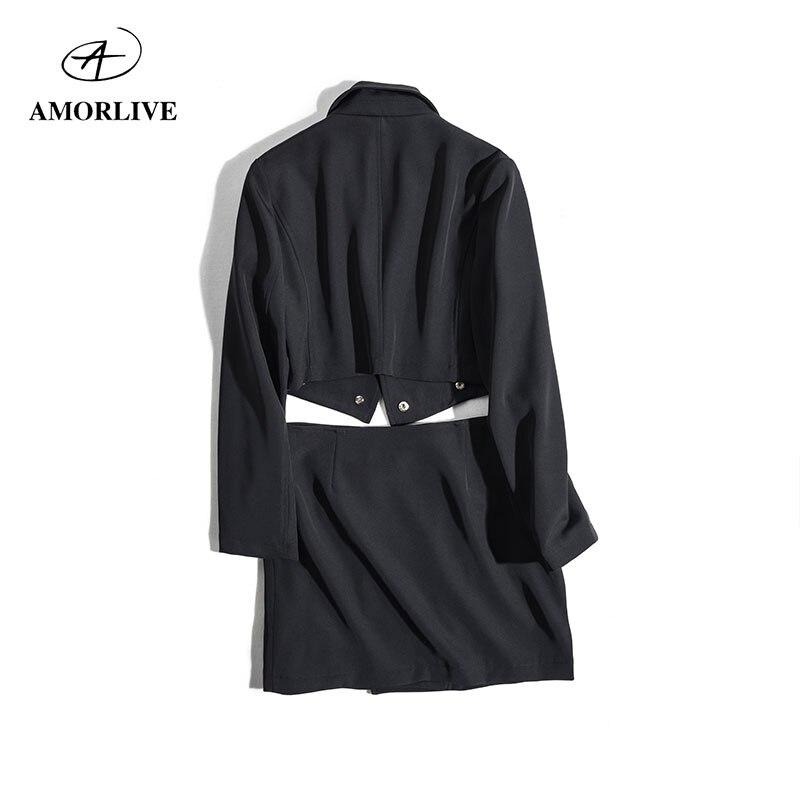 AMOR LIVE Elegant Formal Dress Stretch Short Skirt Autumn Winter Fold-Over Collar Plain Office Suits For Women Two Piece Set