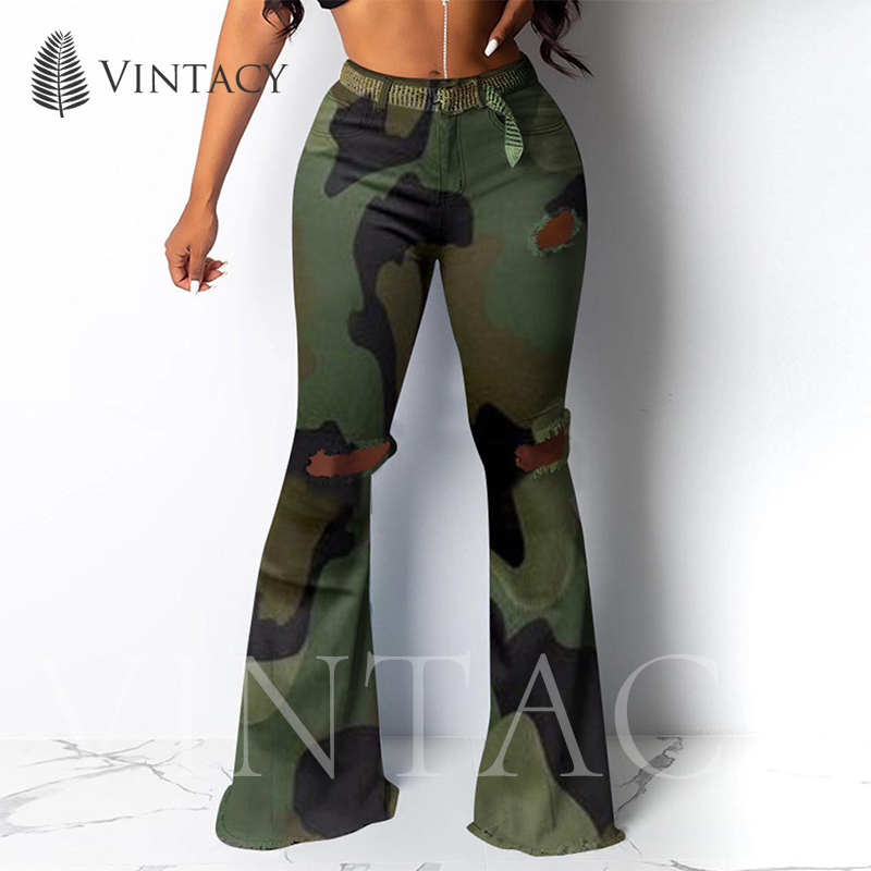 Casual Flare Camouflage Pants Women Print Ripped Fashion Streetwear Trousers Female Fall 2019 Green Sexy Long Bell Bottom Pants