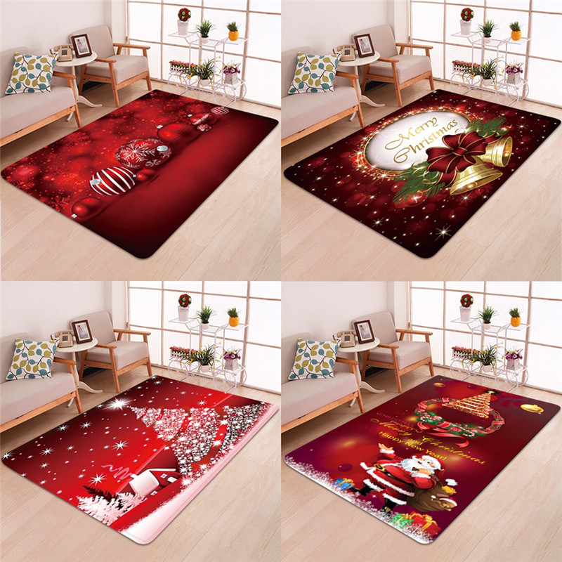3D Vision Christmas Santa Claus Durable Anti-slip Kitchen Living Room Floor Mat Flannel Rugs Christmas Decor Floor Rug