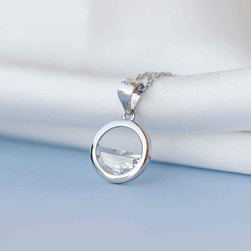 925 Sterling Silver Cubic Zirconia Round Circle Water Choker Necklaces for Women Wedding Statement Jewelry kolye bijoux