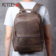 Винтажная кожаная сумка aetoo mad horse мужской кожаный рюкзак