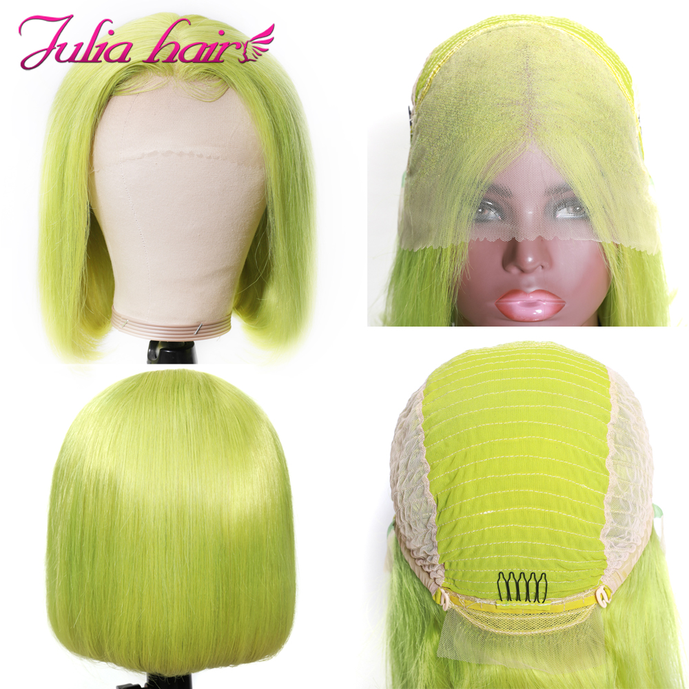 Blonde Bob Lace Front Human Hair Wigs Straight Brazilian Remy 613 Yellow Pink Green 13x4 Lace Front Short Bob Wig Pre Plucked (3)