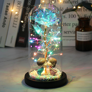 2020 LED Enchanted Galaxy Rose Eternal 24K Gold Foil Flower With Fairy String Lights In Dome For Christmas Valentine's Day Gift image