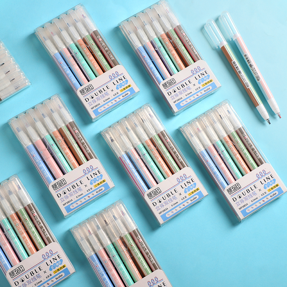 JIANWU New Morandi Color Double Lines Art Markers Pen  Marker Lettering Pen Bullet Journal Pen Drawing Pens