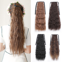 LISI Long Corn Curly Fake Hair Pieces Drawstring Ponytail Extensions for Women Synthetic High Temperature Fiber Hair Extensions [delice] 16 inches women s high temperature fiber synthetic hair curly ponytail piano color 90g piece